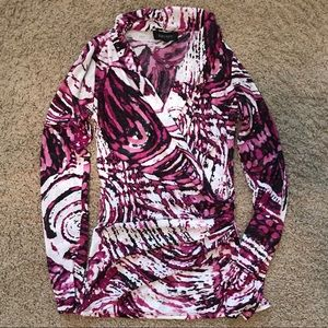 Fitted Wrap-Front Long Sleeve Top